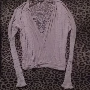 Wet Seal taupe burnout lace back wrap sweater